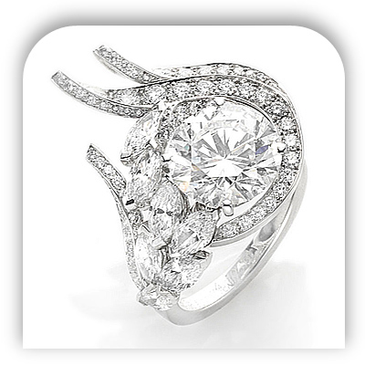 Unique Human Heart Diamond Engagement Ring