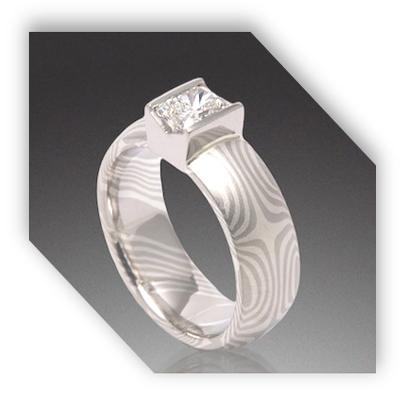 Unique Palladium Gold Diamond Engagement Ring