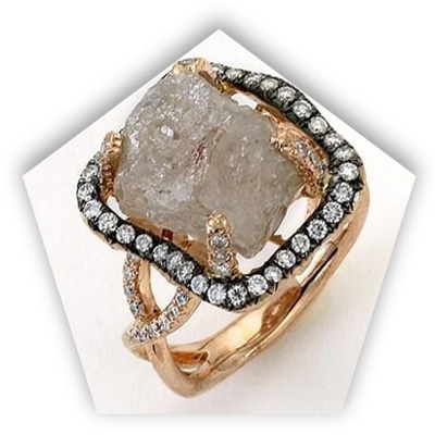 Unique Rough Diamond Engagement Ring