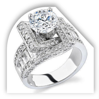 Unique Round Diamond Engagement Ring