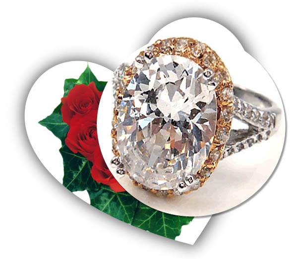 Valentines Day CZ Engagement Ring