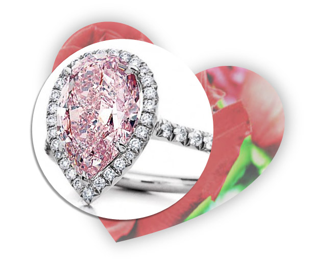 Valentines Day Pink Diamond Engagement Ring