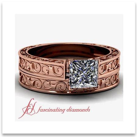 Vintage Princess Cut Wedding Ring