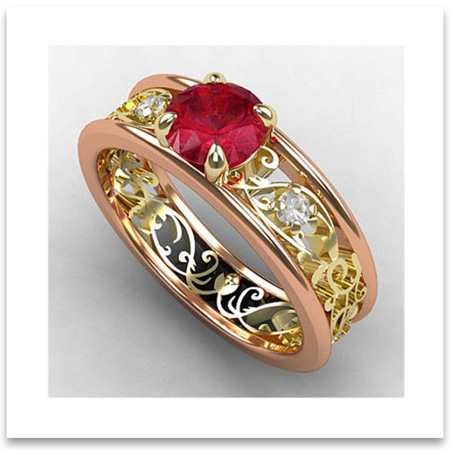 Vintage Ruby Diamond Wedding Ring