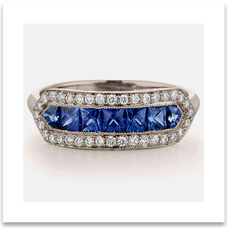 Vintage Sapphire and Diamond Wedding Ring