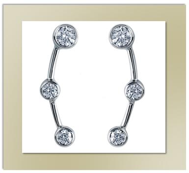 3 Stone Diamond Earrings