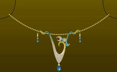 Om Diamond Necklace