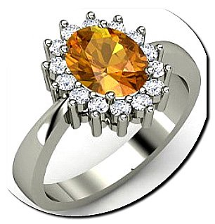 Citrine diamond engagement ring