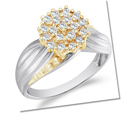 Cluster setting engagement ring two tone