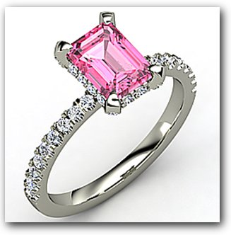 Diamond and Emerald Cut Pink Sapphire Engagement Ring