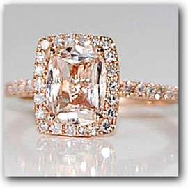 Diamond and Peach Champagne Sapphire Engagement Ring