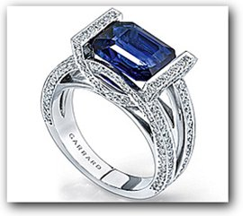 Contemporary Diamond and Sapphire Engagement Ring in White Gold