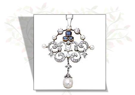 Edwardian Diamond Pearl Sapphire Pendant