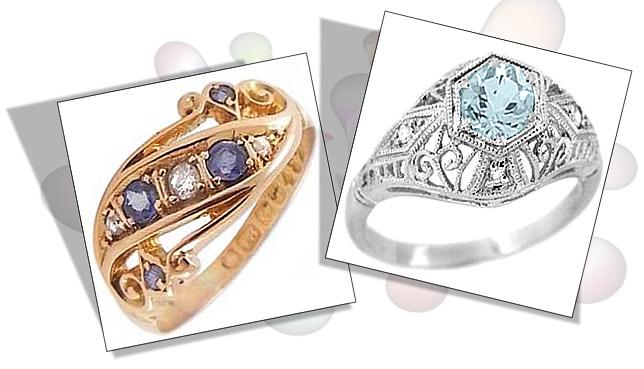 Sapphire and Aquamarine Edwardian Engagement Rings