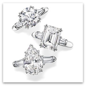 Harry Winston Engagement Rings with side tapered baguetts