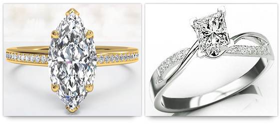 Marquise and Princess cut engagement rings