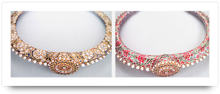 Kundan Jewelry Meenakari Collar Necklace