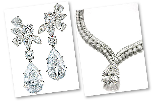 Pear Shaped Diamonds Chandelier Earrings and Necklace