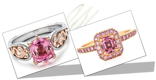 Pink Diamond Engagement Rings in two tone and pink gold